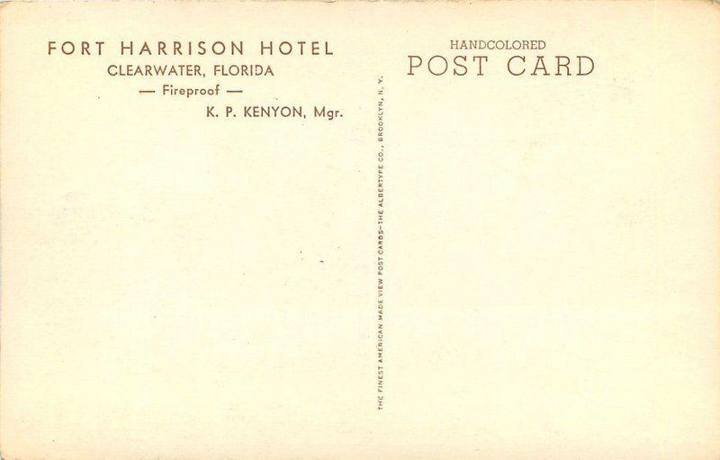 Albertype C-1920s Clearwater Florida Fort Harrison Hotel hand colored 571