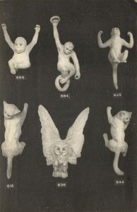 france, DIVES-SUR-MER, Poterie de Normandie, Pottery, Ape Monkey Owl Cat (1910s)