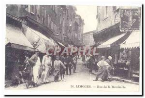 Limoges Old Postcard Street butcher (reproduction)