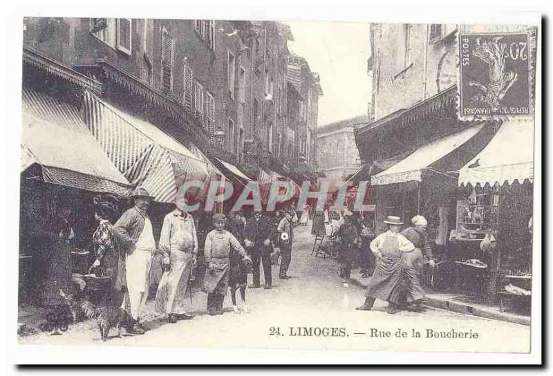 Limoges Old Postcard Street butcher (reproduction)