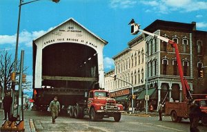 Jessup Bridge Moved Thru Rockville IN Storefronts Trucks Postcard
