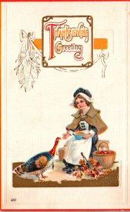 Thanksgiving Greetings With Pilgrim Lade Feeding Turkey