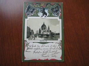 Berlin Postcard Coat of Arms Embossed Germany 1900 Postmark w/ Stamp