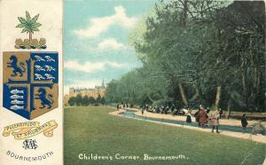 Bournemouth England~Coat of Arms~Children's Corner~Canal~1907 Postcard