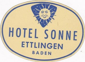 Germany Ettlingen Hotel Sonne Vintage Luggage Label sk2901
