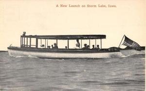 Storm Lake Iowa New Launch River Boat Antique Postcard K31374