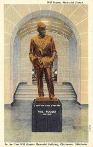 CLAREMORE, OK Oklahoma   WILL ROGERS MEMORIAL STATUE    c1940's Postcard