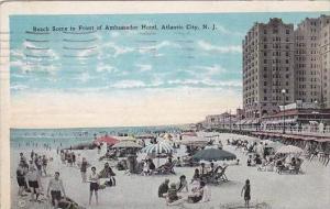 New Jersey Atlantic City Beach Scene In Front Of Ambassador Hotel