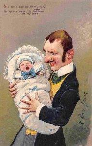 Father & Baby Noisy But Bone of My Bone PFB 1906 postcard