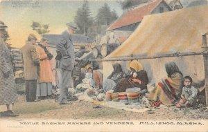 LP11  Alaska  Island Postcard Eskimo Basket Makers Hand Color Albertype