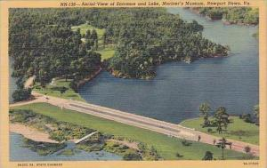 Virginia Newport News Aerial View Of Entrance And Lake Mariners Museum 1945