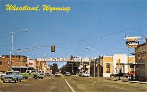 Wheatland Wyoming~Welcome Banner Across Street~Montgomery Wards~1950s Cars PC