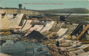 Spillway looking East Gatun Panama Canal Zone under construction
