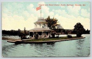 Nevada Missouri~Bridge to Radio Springs Island~Victorian Band Stand~1913 PC