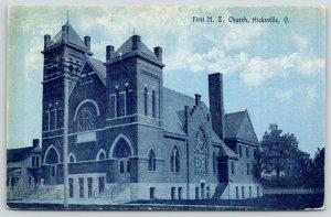 Hicksville Ohio~16-Spoke Window~First Methodist Episcopal Church~1909 Blue Tint