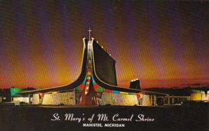 Michigan Manistee St Mary's Of Mt Carmel Shrine At Night