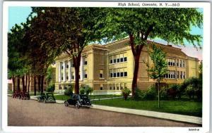 Oneonta, New York Postcard HIGH SCHOOL Street View Curteich Linen c1940s Unused