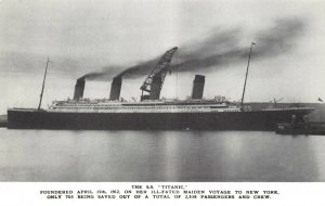 Postcard, RMS Titanic just before leaving Belfast for Southampton 1912 CA3