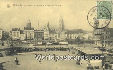 La Ville a la Sortie de la Gare Ostende, Belgium 1920 Stamp on front