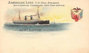 LP57 S. S. St. Louis Ship Vintage Postcard American Line U. S. Mail Steamer