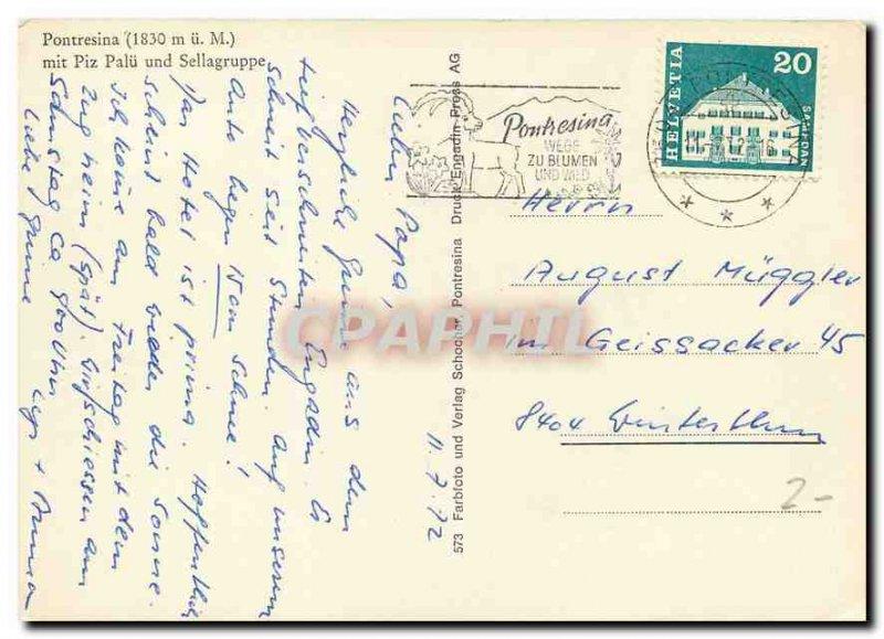 Modern Postcard Pontresina mit Piz Palu und Sellagruppe