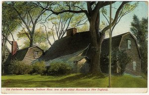 1906 Dedham MA Mass Old Fairbanks Mansion Oldest Timber House in US UDB Postcard