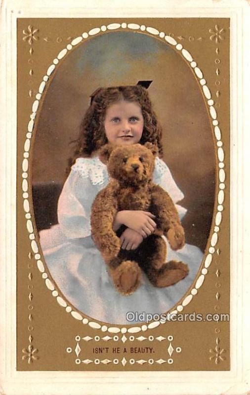 Teddy Bear Post Card Isn't He a Beauty Writing on back