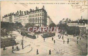Old Postcard Lyon Place Gambetta bridge courses and Liberte Tram