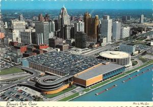 Michigan, Detroit's Civic Center, auto cars, panorama