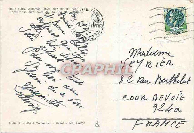Postcard Modern Saluti da Comacchio Dalla Carta automobilistica