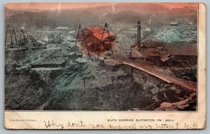 Slatington PA~Railroad Tracks into Slate Quarries~Buildings~Crane~1906 Slatedale