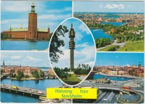 Halsning fran Stockholm, multi view, used Postcard