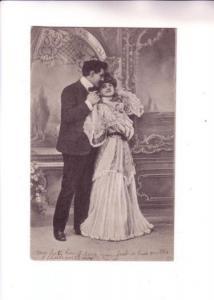 B&W Couple, Couple in  Victorian Dress, KVIB 12, Series 1005, Split Ring Canc...
