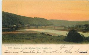 1907 FRANKLIN Pennsylvania Allegheny River Rotograph undivided postcard 3051