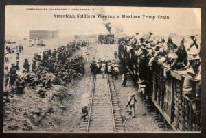 Mint USA RPPC Real Picture Postcard American Soldiers Viewing Mexican Troops