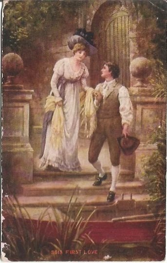 Vintage Romantic Edwardian Scene Woman & Gentleman on canoe ride First Love