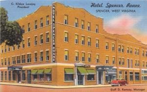 D96/ Spencer West Virginia WV Postcard Linen Hotel Spencer Roane Building