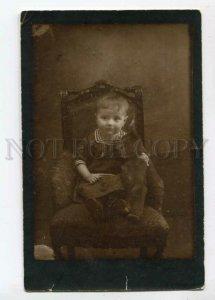 3103690 Cute Girl w/ TEDDY BEAR Toy on Chair Vintage REAL PHOTO