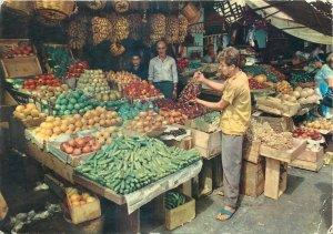 Lebanon Beirut fruit market postcard