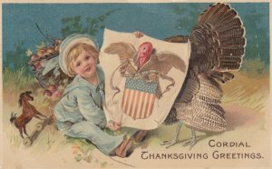 Thanksgiving Greetings, PU-1909; Little boy, toy rolling horse & a turkey