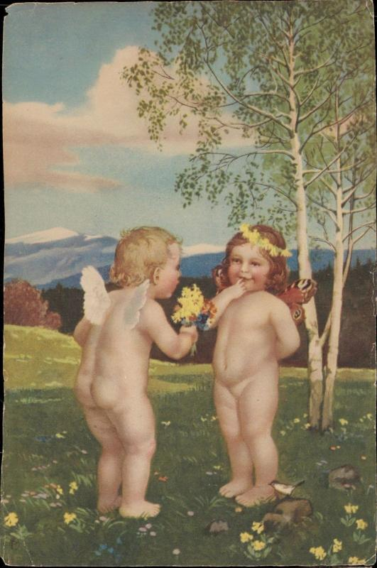 Cupid small children couple love romantic fantasy back side missing