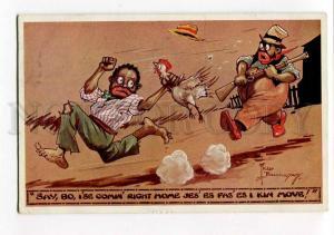 264912 BLACK AMERICANA Man w/ GUN by Fred BUCHANAN Vintage PC