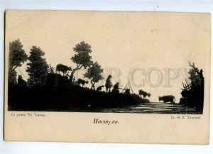 235914 RUSSIA TOLSTOY shepherds Vintage silhouette St.Eugenie