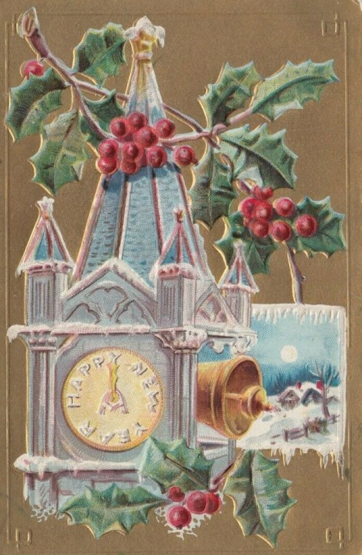 HAPPY NEW YEAR, 1900-10s; Tower Clock striking midnight, Bell ringing, Holly