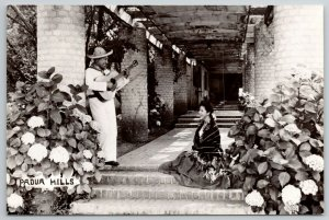 Padua Hills California~Spainard Serenades Gal w/Guitar RPPC 1940s Postcard