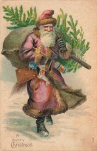 A Merry Christmas Reddish Suited Santa Claus with Tree Embossed Postcard