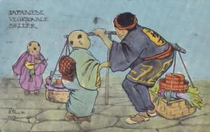 Japanese Vegetable Seller Antique Japan Market Crafts Postcard