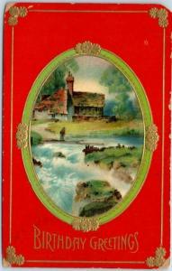Vintage HAPPY BIRTHDAY Postcard River / House Country Scene  c1910s