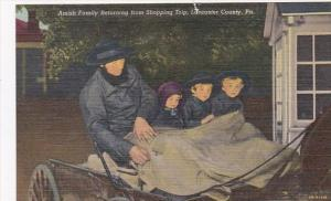 Pennsylvania Lancaster County Amish Family Coming Home From Shopping Trip Cur...