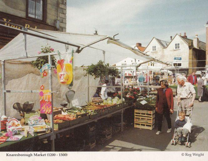Weighing Scales at Markets Market Traders Grocers Knaresborough Postcard